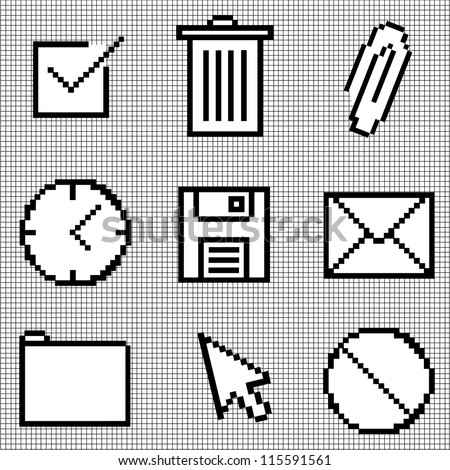 Web Icons Isolated on Graph Paper - stock vector