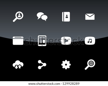 Web icons on black background. Vector illustration. - stock vector