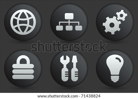 Web Icons on Black Internet Button Collection Original Illustration - stock vector