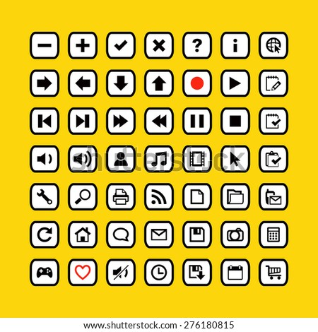 Web icons on buttons vector illustration in yellow style - stock vector