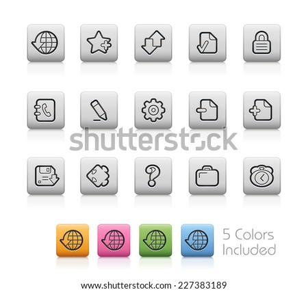 Web Icons // Outline Buttons +++ Each color in a layer - To see the desired color, you need to make it visible in the layer panel +++ EPS 10+ / Contain Transparencies. - stock vector