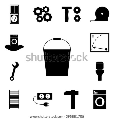 Web icons refit. Vector button bucket, pail,