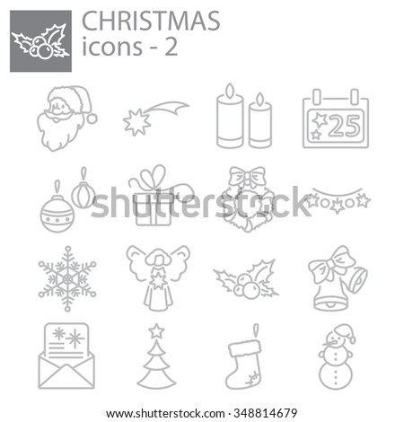 Web icons set. Christmas and New Year
