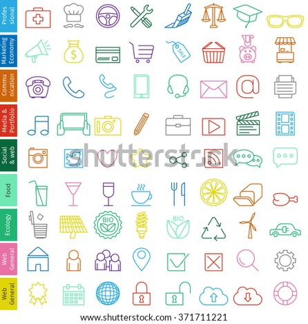 Web icons set  for business - Trendy illustration, fine line with soft colors in vector format