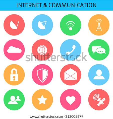 Web icons set for communications and applications: antenna, receiver, wi-fi, cloud, network, chat, lock, defense, envelope, user, friend, satelite, favorite, favorite. Flat design.