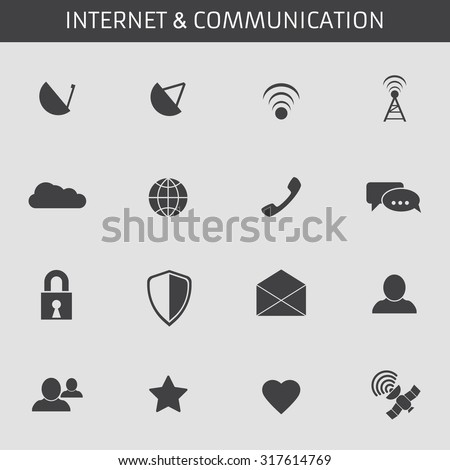 Web icons set for communications and applications: antenna, receiver, wi-fi, cloud, network, chat, lock, defense, envelope, user, friend, satelite, favorite, favorite. Flat design. - stock vector
