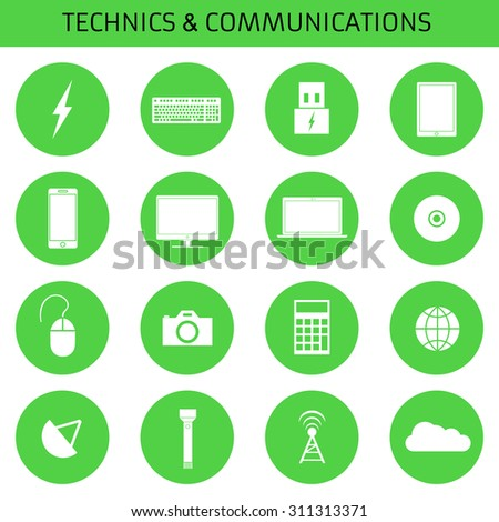 Web icons set for computer equipment: Power, keyboard, tablet, phone, monitor, laptop, mouse, CD, camera, calculator, network, communication, flashlight, antenna, cloud storage. Flat design.