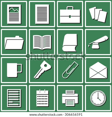 Web icons set for office: diagrams, documents, briefcase, papers, documents, folder, book, pen and ink bottle, a cup, a key clip, envelope, scores, calendar, printer, watch. Design flat.