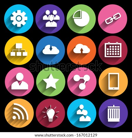 Web Icons Set in Flat Design . - stock vector