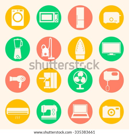 Web icons set of home appliances: washing machine, refrigerator, microwave oven, mixer, blender, toaster, coffee maker, espresso machine, iron, sewing machine. Design flat. - stock vector