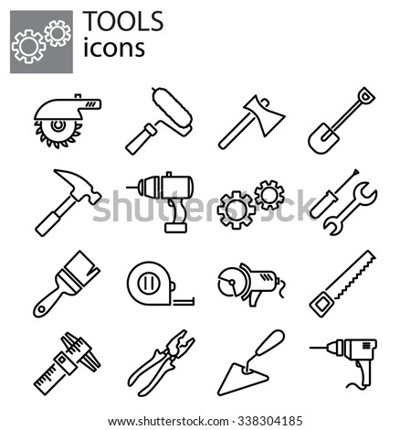 Web icons set. Tools - stock vector