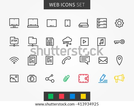 Web icons vector set. User interface icons (laptop, tablet, server, mobile, document, etc). Internet icons creative line concept.