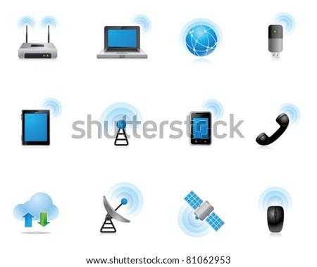Web Icons - Wireless World - stock vector