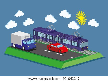 Web infographic concep transport. Tram, car and truck. - stock vector