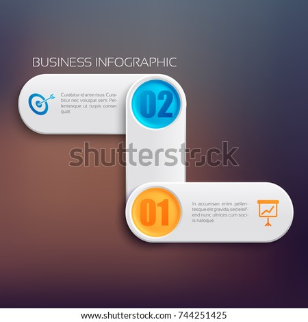 Web infographic template with connected gray rounded rectangles two options and icons isolated vector illustration