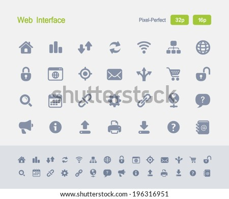 Web Interface Icons. Granite Icon Series. Simple glyph stile icons optimized for two sizes. - stock vector