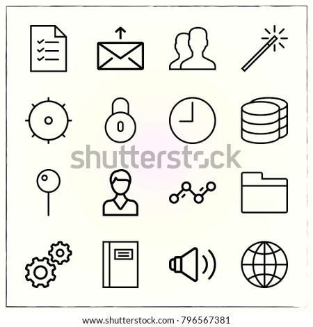 Web Interface line icons set gear and wand