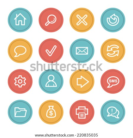 Web & internet icon set 1, color circle buttons - stock vector