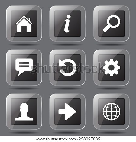 Web Internet Square Vector Black Button Icon Design Set