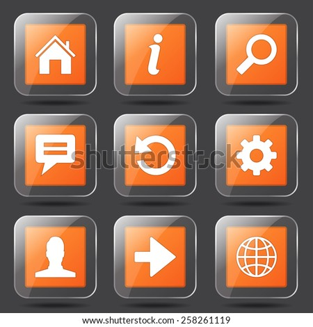 Web Internet Square Vector Orange Icon Design Set