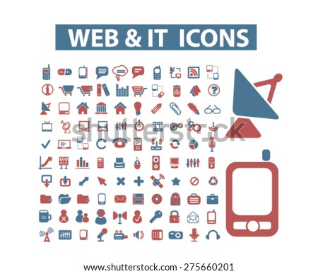 web, internet, technology, communication icons, signs. illustrations set, vector