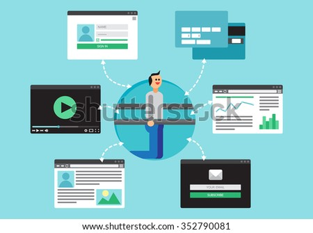 Web Life of Sportsman in workout from video, blog, social networks, online shopping and email. Graphic user interface and web pages forms and elements. Vector - stock vector