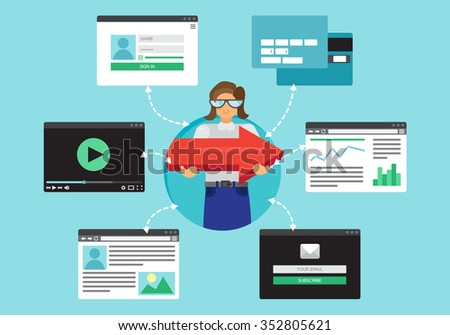 Web Life of Worker Woman from video, blog, social networks, online shopping and email. Graphic user interface and web pages forms and elements. Vector - stock vector