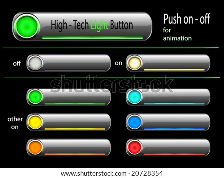 web light button, good for flash animation - push on or off - illuminated in different colors