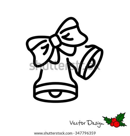 Web line icon. Bell with bow - stock vector