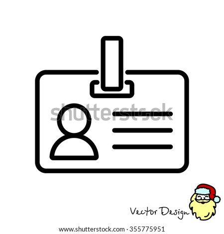 Web line icon. Business; blank id cards with clasp  (badge) - stock vector