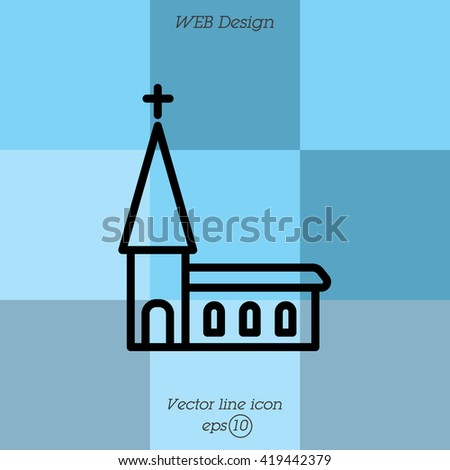 Web line icon. Church, temple