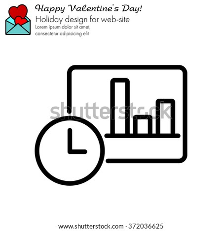 Web line icon. Clock and graph, analytics - stock vector
