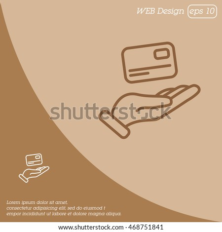 Web line icon. Credit card in hand