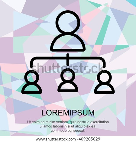 Web line icon. Management, group of people - stock vector