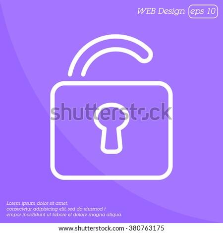 Web line icon. Padlock - stock vector