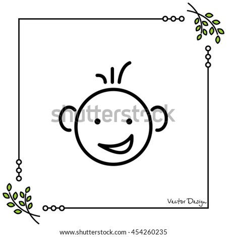 Web line icon. Smiling child, fanny baby - stock vector