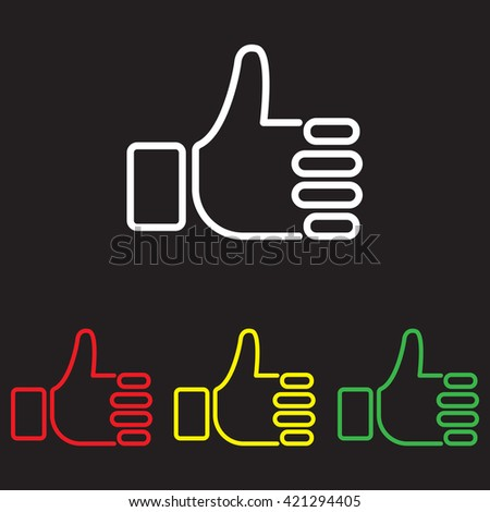 Web line icon. Thumbs up, like