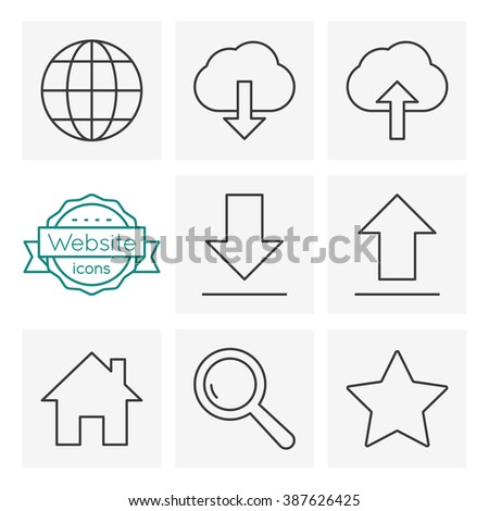 web line icons set - stock vector