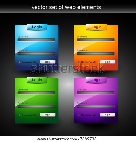 web login form style element in many colors - stock vector
