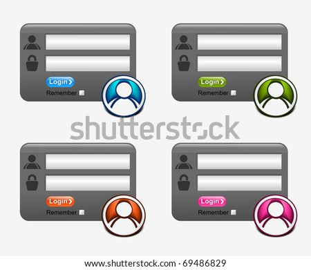 web login form template element, includes four versions for your web design. - stock vector