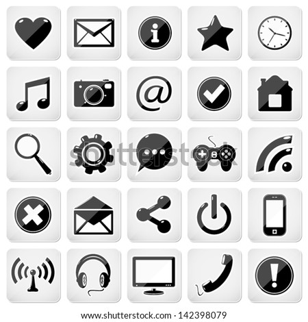 Web media buttons set, email icons - stock vector