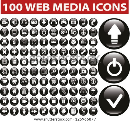 web media glossy buttons set, vector