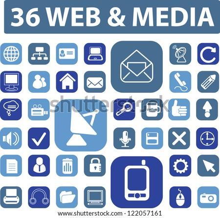 web media icons, signs set, vector - stock vector