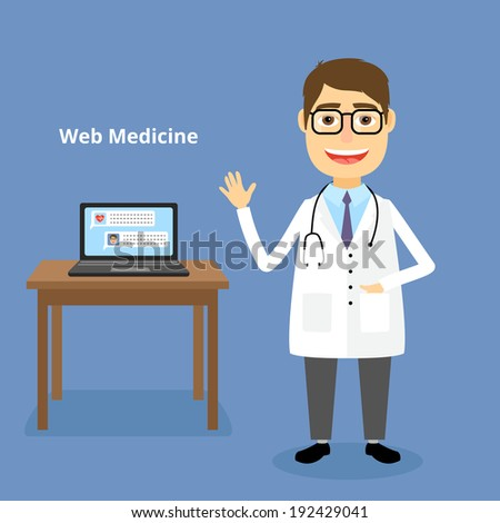 Web medicine concept with a happy friendly doctor wearing a stethoscope standing alongside a table with a laptop ready to answer your questions and help with an online diagnosis  vector illustration - stock vector