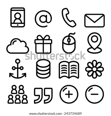 Web menu navigation line icons set - contact page, internet  - stock vector