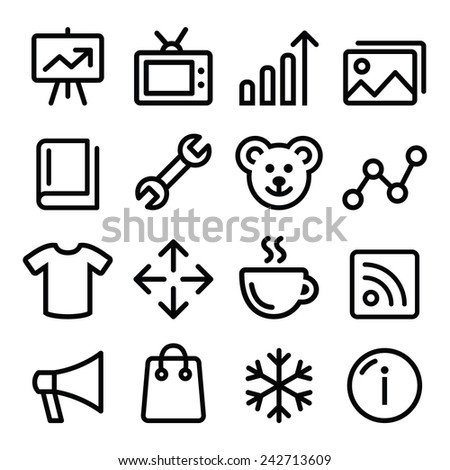 Web menu navigation line icons set - photo gallery, online store  - stock vector