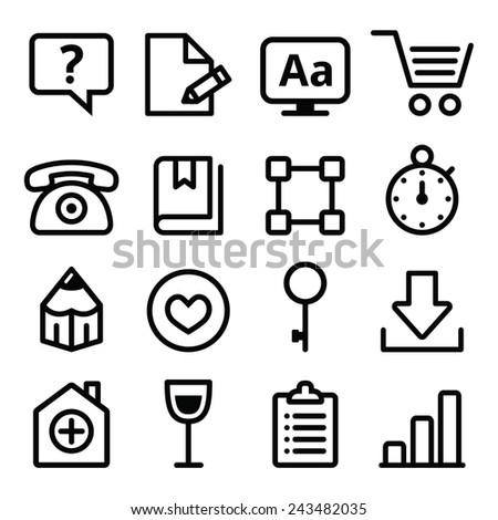 Web menu navigation line icons set - stroke style  - stock vector
