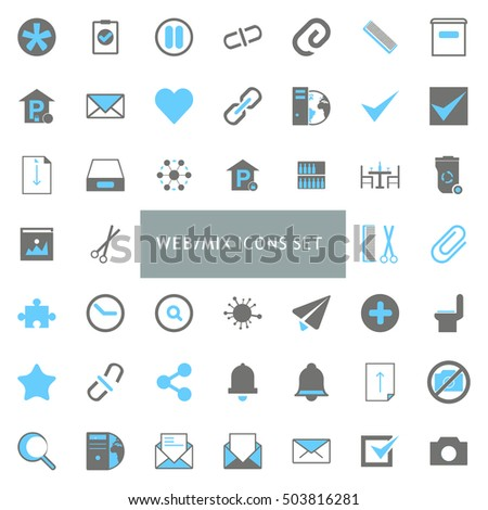 Web Mix Black and Gray Icon set