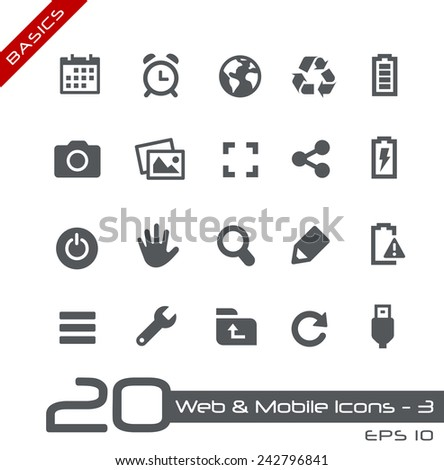 Web & Mobile Icons - 3 // Basics - stock vector