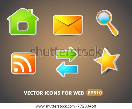 Web Navigation Icons set, vector - stock vector